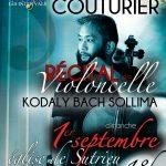 Récital de Violoncelle – Eric-Maria Couturier – le 1er septembre à 18h à l'église de Sutrieu