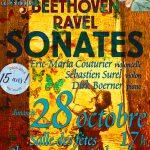 Inter'vals 2018 : Sonates MOZART, BEETHOVEN, RAVEL le 28 octobre à 17h à la salle des fêtes de Champagne