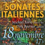 Inter'Vals 2018 : Sonates Italiennes le 18 novembre à 17 h à l'école de Champagne