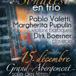 Inter'Vals 2019-2020 : Sonates en trio avec Pablo Valetti, Margherita Pupulin & Dirk Boerner dimanche 15 décembre à 17h la salle des fêtes du Grand-Abergement